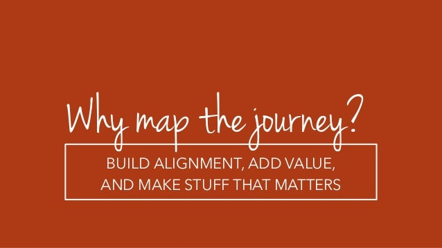 Why map the journey? BUILD ALIGNMENT, ADD VALUE, AND MAKE STUFF THAT MATTERS