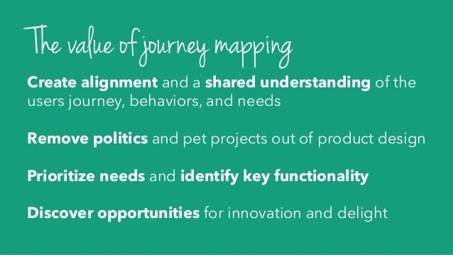 Create alignment and a shared understanding of the users journey, behaviors, and needs Remove politics and pet projects ou...