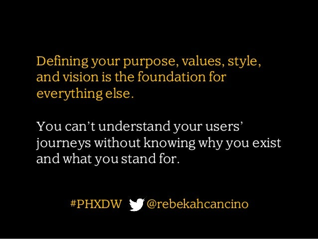 Defining your purpose, values, style, and vision is the foundation for everything else. You can't understand your users' j...