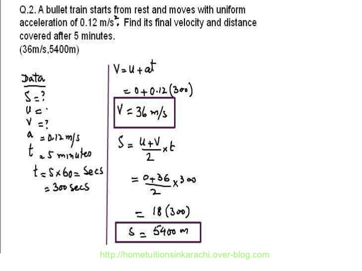 Physics Numerical Problem, Metric Physics, Kinematic