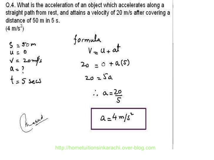 Physics Numerical Problem, Metric Physics, Kinematic Problems Karachi…