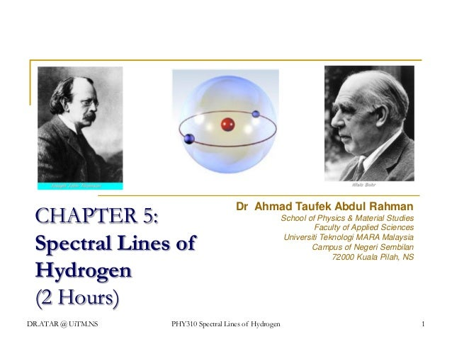 CHAPTER 5: Spectral Lines of Hydrogen (2 Hours) DR.ATAR @ UiTM.NS  Dr Ahmad Taufek Abdul Rahman  PHY310 Spectral Lines of ...