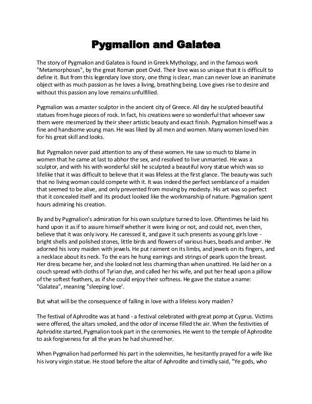 Phygmalion and galatea story 2014