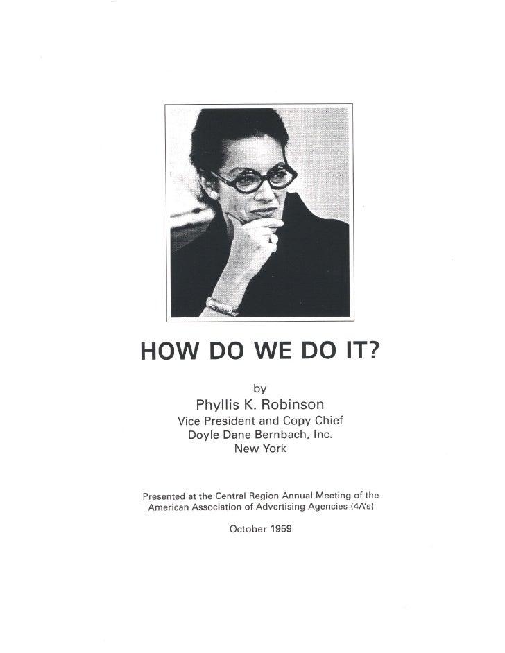 Phyllis Robinson's Speech to the 1959 AAAA Annual Meeting
