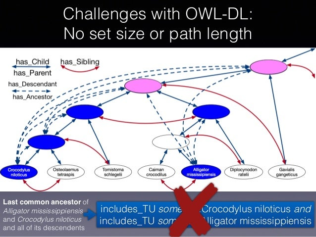 Challenges with OWL-DL: No set size or path length Last common ancestor of Alligator mississippiensis and Crocodylus nilo...