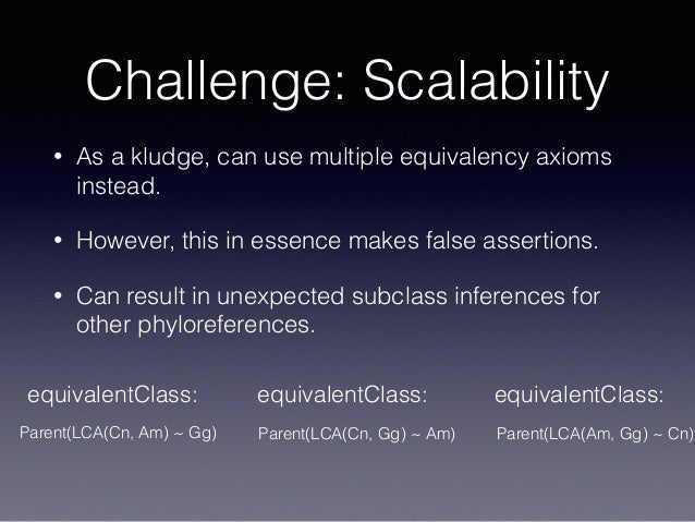 Challenge: Scalability • As a kludge, can use multiple equivalency axioms instead. • However, this in essence makes false ...