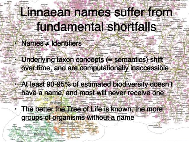 Linnaean names suffer from fundamental shortfalls • Names ≠ Identifiers • Underlying taxon concepts (= semantics) shift ove...