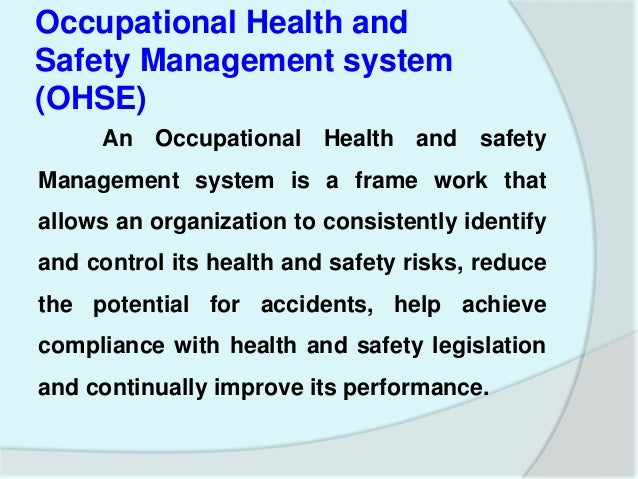 Define some examples for Occupational Health and Safety objectives for OHSAS 18001?