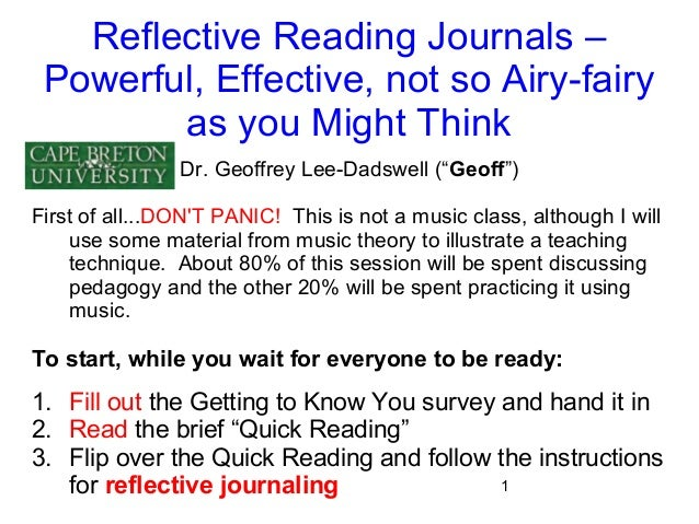 reflective journals and critical thinking