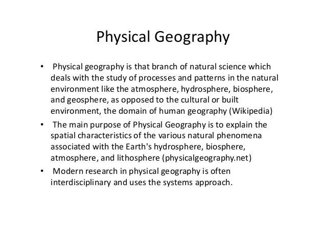 Introduction To Physical Geography on Human Geography Of The Discipline
