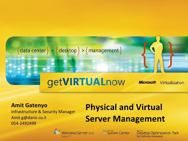 Amit Gatenyo Infrastructure & Security Manager [email_address] 054-2492499 Physical and Virtual Server Management