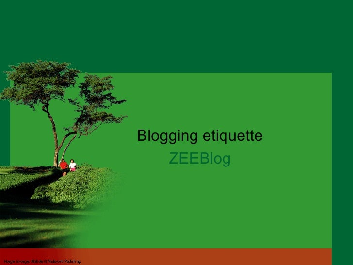 Blogging etiquette ZEEBlog Life Expectancy vs. Healthy Life Expectancy Lifestyle as a Health Problem Physical Activity and...