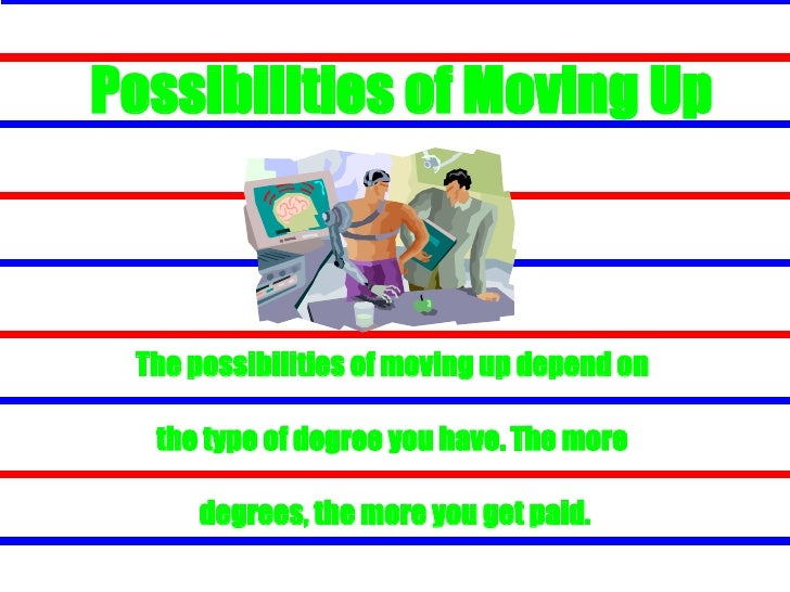 Possibilities of Moving Up <ul><li>The possibilities of moving up depend on  </li></ul><ul><li>the type of degree you have...