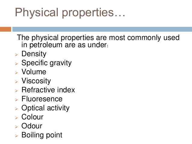 Physical And Chemical Properties Of Petroleum Pdf
