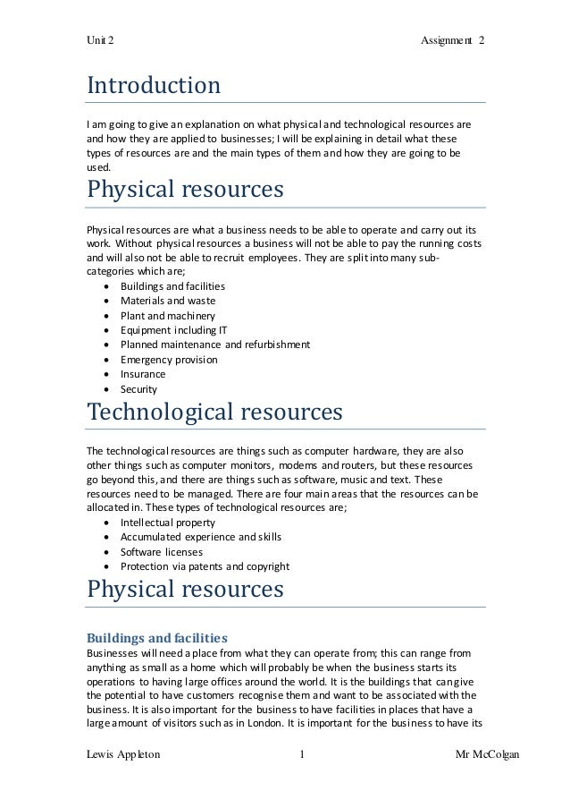p3 physical technological resources Read this essay on p3+m1 – describe and explain the main physical and  technological resources required in the operation of a selected organisation.