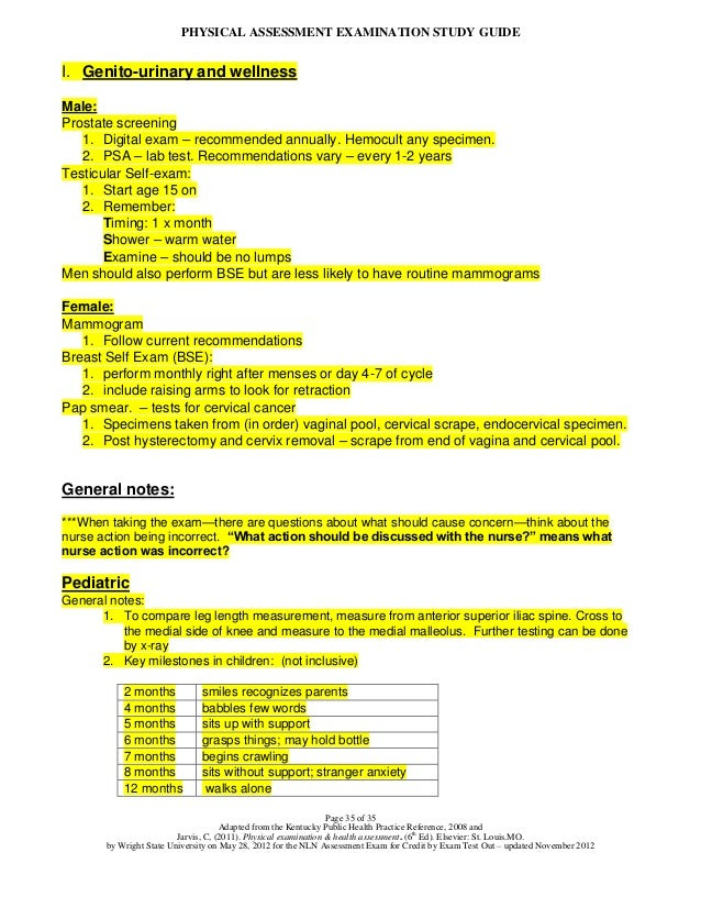 Physical assessment exam study guide publicscrutiny Choice Image