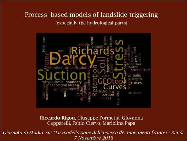 Process -based models of landslide triggering (especially the hydrological parts)  Riccardo Rigon, Giuseppe Formetta, Giov...