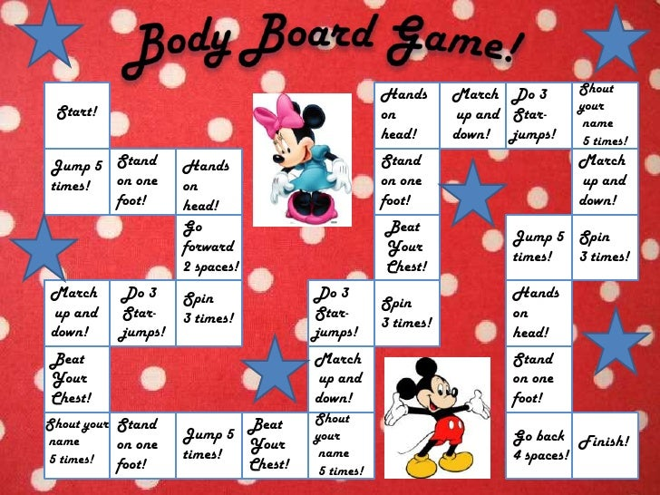 Body Board Game!<br />Shout your<br /> name<br /> 5 times!<br />Do 3 <br />Star-<br />jumps!<br />Hands <br />on head!<br ...