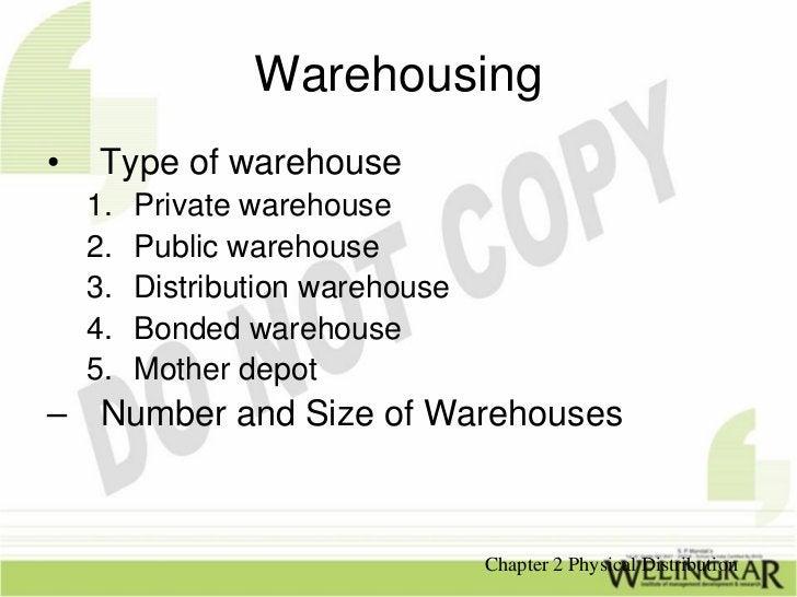 Warehousing•    Type of warehouse    1.   Private warehouse    2.   Public warehouse    3.   Distribution warehouse    4. ...