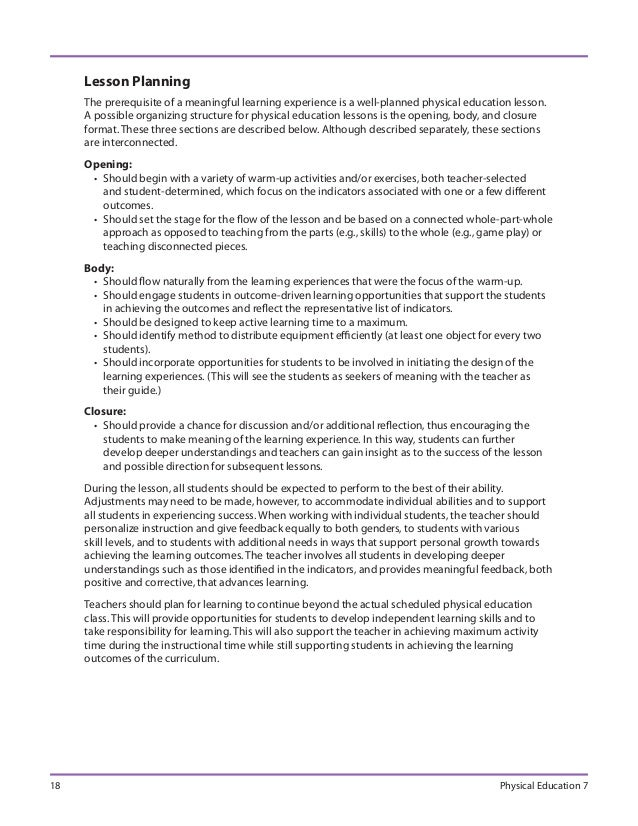 Physical education 72009 – Sample Physical Education Lesson Plan Template
