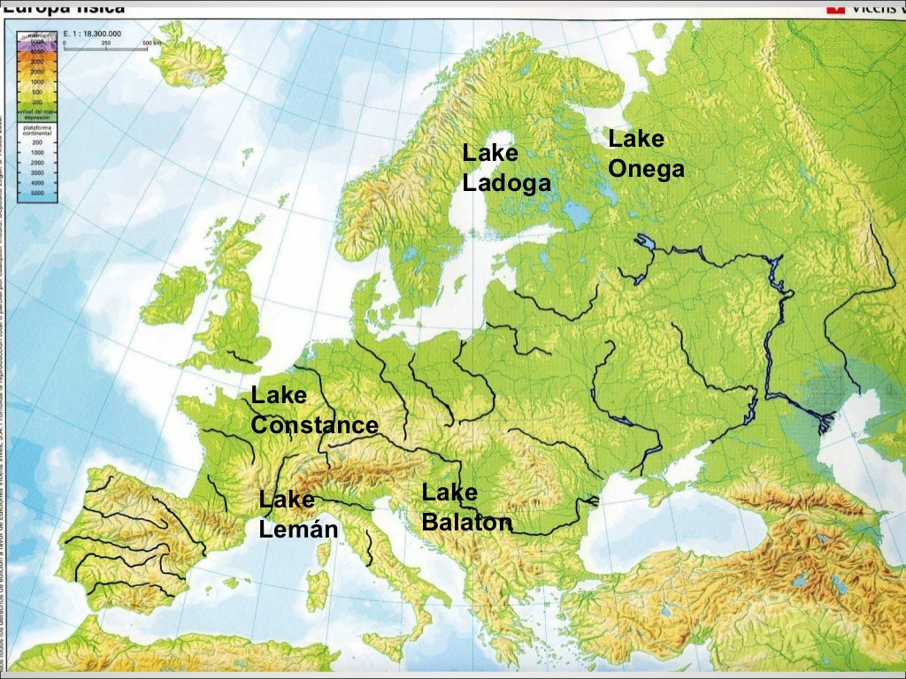 Lago Balaton Mapa Europa.Physical Europe 3ºbil