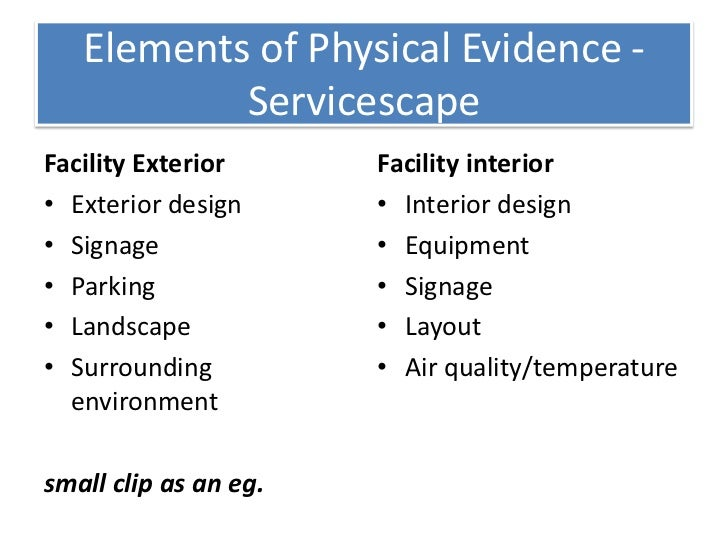 physical evidence in services marketing The later addition of physical evidence, people and processes extended this framework to seven ps to accommodate the unique characteristics of services marketing.