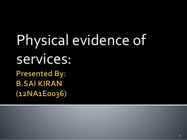 Physical evidence of services: 1