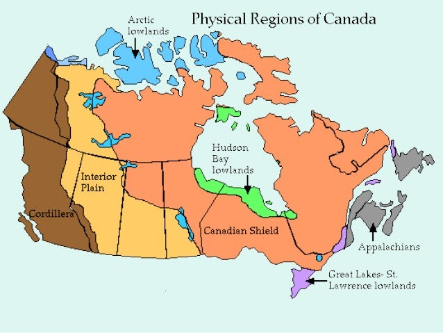 Map Of Canada 5 Great Lakes.Physical Features Of Canada