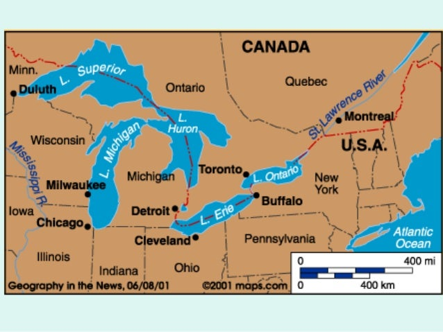 Features Of Canada - St lawrence river on us map