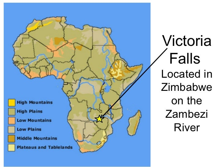 victoria falls on africa map