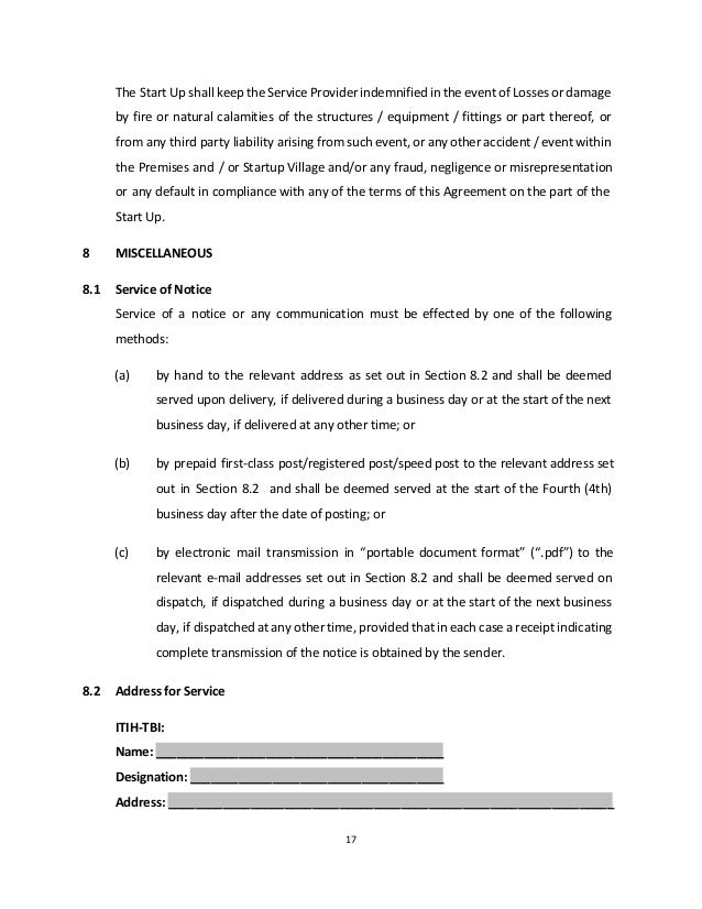 Physical Incubation Services Agreement Corporate