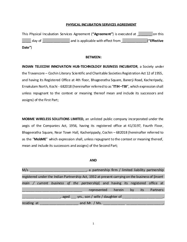 Legal Agreement With Partnership