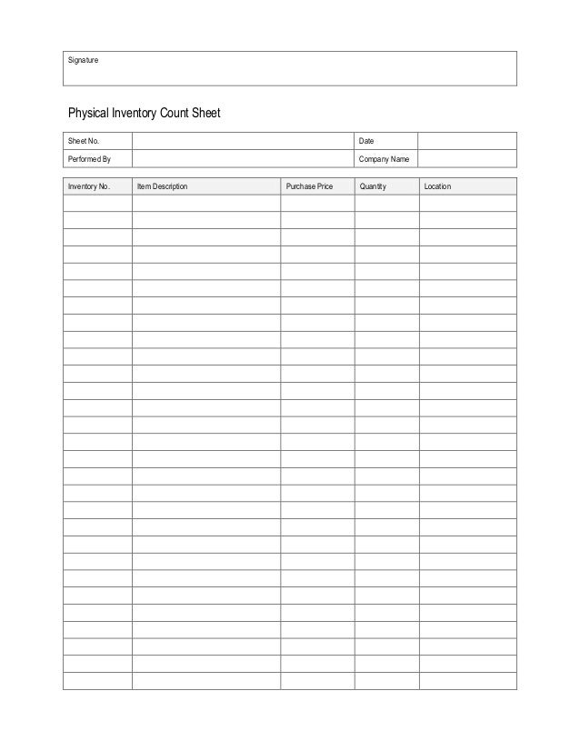 Physical inventory count sheet