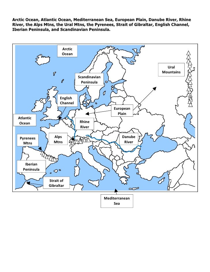 Physical map of europe answers
