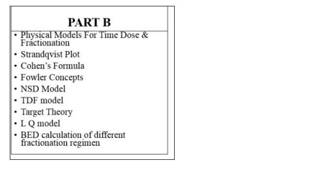 Physical Models For Time Dose & Fractionation Slide 2