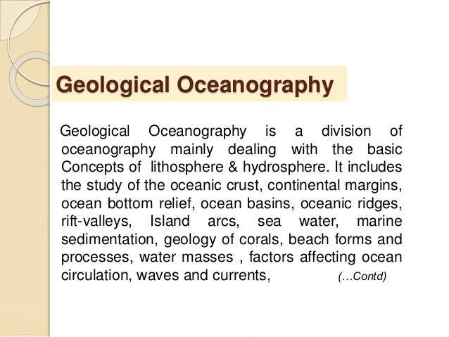 what branch of oceanography deals with waves and currents
