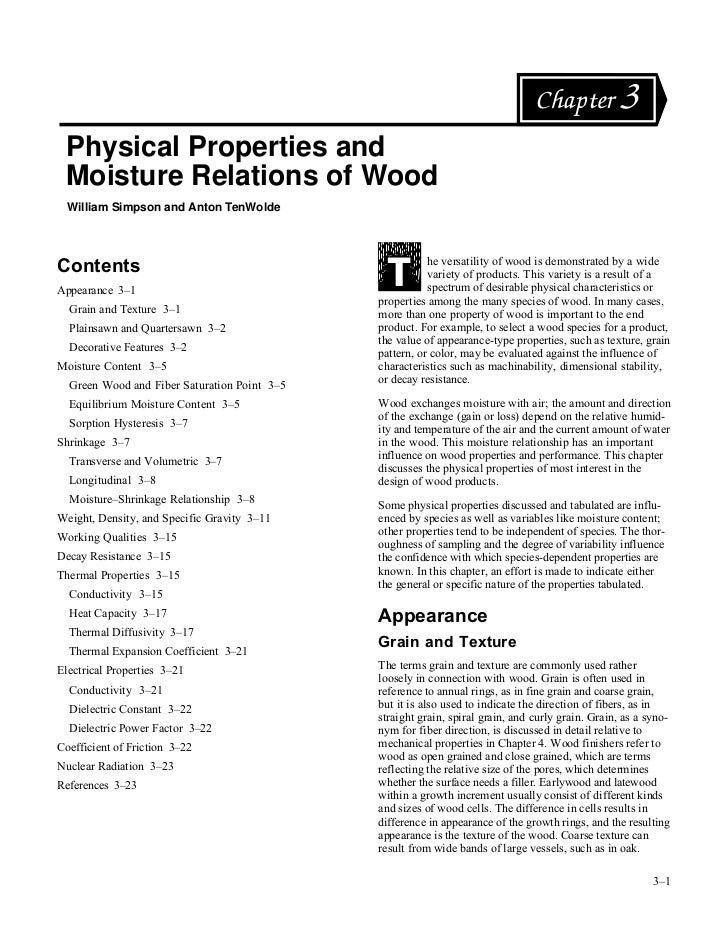 Chapter 3 Physical Properties and Moisture Relations of Wood  William Simpson and Anton TenWoldeContents                  ...