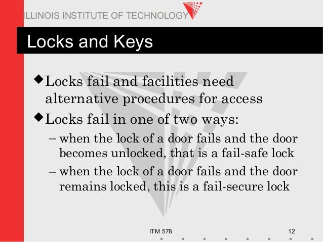 ITM 578 12 ILLINOIS INSTITUTE OF TECHNOLOGY Locks and Keys Locks fail and facilities need alternative procedures for acce...