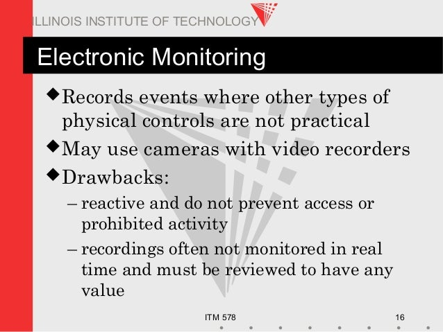 ITM 578 16 ILLINOIS INSTITUTE OF TECHNOLOGY Electronic Monitoring Records events where other types of physical controls a...