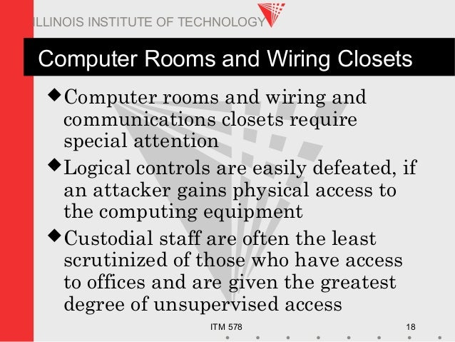 ITM 578 18 ILLINOIS INSTITUTE OF TECHNOLOGY Computer Rooms and Wiring Closets Computer rooms and wiring and communication...