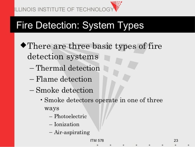 ITM 578 23 ILLINOIS INSTITUTE OF TECHNOLOGY Fire Detection: System Types There are three basic types of fire detection sy...