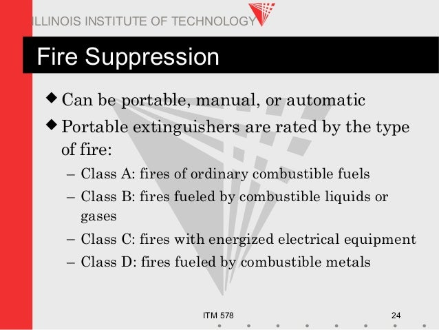 ITM 578 24 ILLINOIS INSTITUTE OF TECHNOLOGY Fire Suppression  Can be portable, manual, or automatic  Portable extinguish...