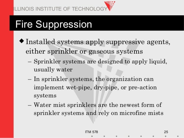 ITM 578 25 ILLINOIS INSTITUTE OF TECHNOLOGY Fire Suppression  Installed systems apply suppressive agents, either sprinkle...