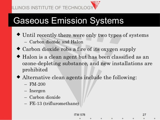 ITM 578 27 ILLINOIS INSTITUTE OF TECHNOLOGY Gaseous Emission Systems  Until recently there were only two types of systems...