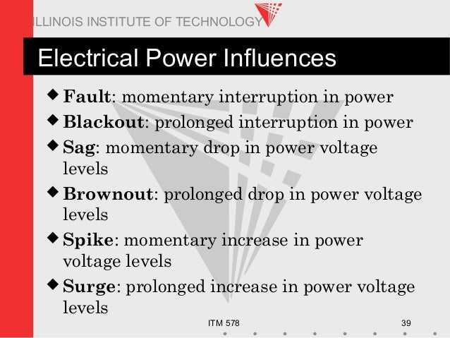 ITM 578 39 ILLINOIS INSTITUTE OF TECHNOLOGY Electrical Power Influences  Fault: momentary interruption in power  Blackou...