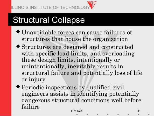 ITM 578 41 ILLINOIS INSTITUTE OF TECHNOLOGY Structural Collapse  Unavoidable forces can cause failures of structures that...