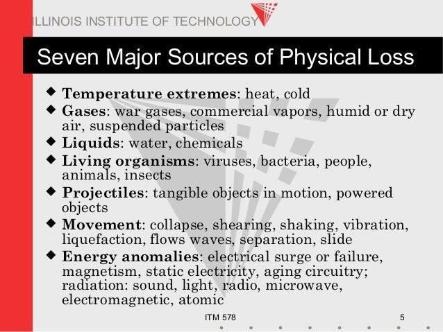 ITM 578 5 ILLINOIS INSTITUTE OF TECHNOLOGY Seven Major Sources of Physical Loss  Temperature extremes: heat, cold  Gases...