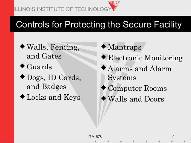 ITM 578 9 ILLINOIS INSTITUTE OF TECHNOLOGY Controls for Protecting the Secure Facility  Walls, Fencing, and Gates  Guard...