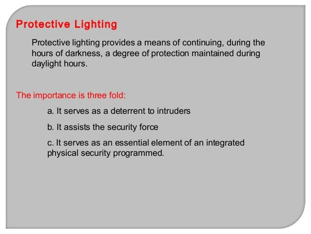 4. Department of Army Lighting Spec Table (FM 19-30, Mar 79') Location Foot-candles Perimeter of outer area 0.15 Perimeter...