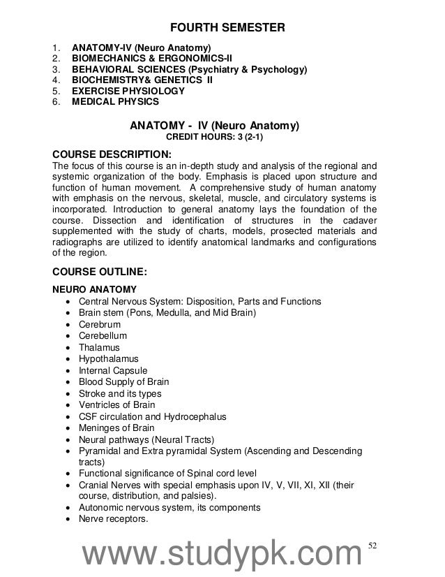 hec curriculum of doctor of physical therapy  dpt